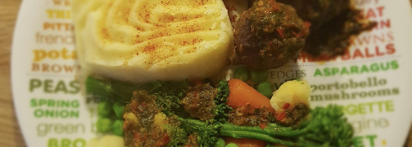 Spicy Meatballs, Creamed Potatoes and Mixed Veggies