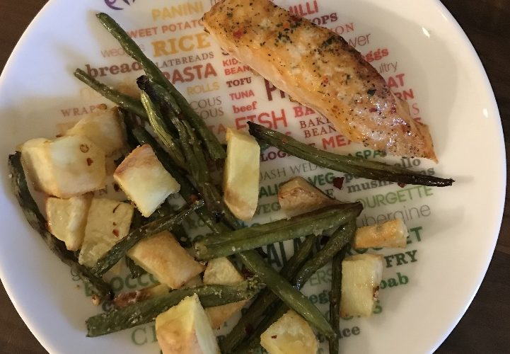Kim's Spicy Salmon, Cubed Potatoes & Green Beans